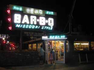 Bear Pit Bar-B-Q Missouri Style Sign attracting customers for the best barbeque in San Fernando Valley